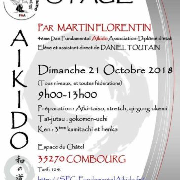 Dimanche 21 octobre STAGE Fundamental AÏKIDO Martin FLORENTIN Combourg