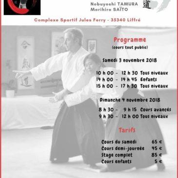 3 et 4 novembre 2018 dojo Plougoumelen fermé – Stage Fundamental Aïkido à Liffré