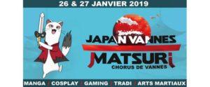 Affiche de présentation du japan vannes matsuri les 26 et 27 janvier 2019 représentant un animal à queue blanche et noire armé d'un sabre