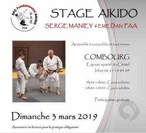 Flyer de présentation du stage de serge Maniey dimanche 3 mars 2019 à Combourg avec l'image d'une prise main nues d'aïkidoka