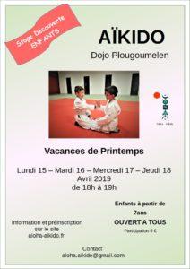 Flyer de présentation du stage enfants animé par Morgane Fallon au dojo de Plougoumelen en avril 2019, avec une image de 2 enfants à genoux sur le tatami
