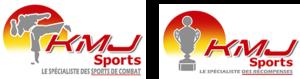 double Logo KmJ Sport avec un karatéka donnant un coup de pied arrière et une coupe de récompense