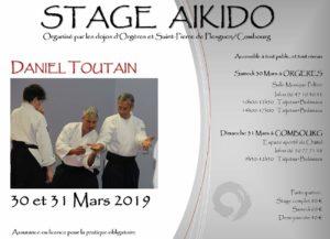Affiche présentant le stage animé par Daniel Toutain les 30 et 31 mars