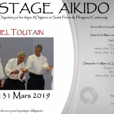 Stage avec Daniel TOUTAIN 30 et 31 mars. Dojo Plougoumelen fermé