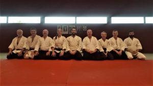 9 aïkidoka ayant participé au premier stage d'aïkido traditionnel organisé à Plougoumelen en avril 2019