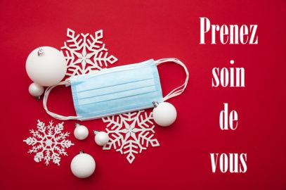 carte de voeux de Noël, flocon, boule de neige et masque
