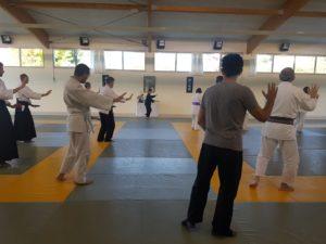 Pratique sur le tatami lors du rassemblement national aïkido UFOLEP au Mans
